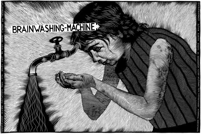 Peeter Allik | Brainwashing Machine | Linocut | 2006
